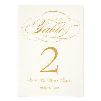 Número elegante de la tabla de la escritura - oro anuncio