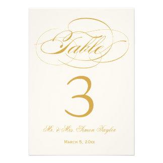 Número elegante de la tabla de la escritura - oro anuncio personalizado