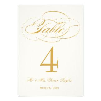 """Número elegante de la tabla de la escritura - oro invitación 5"""" x 7"""""""