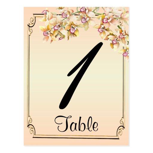 Número elegante de la tabla del boda de la tarjeta postal