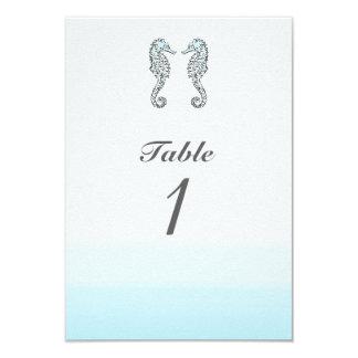 """Número elegante de la tabla del boda de playa de invitación 3.5"""" x 5"""""""