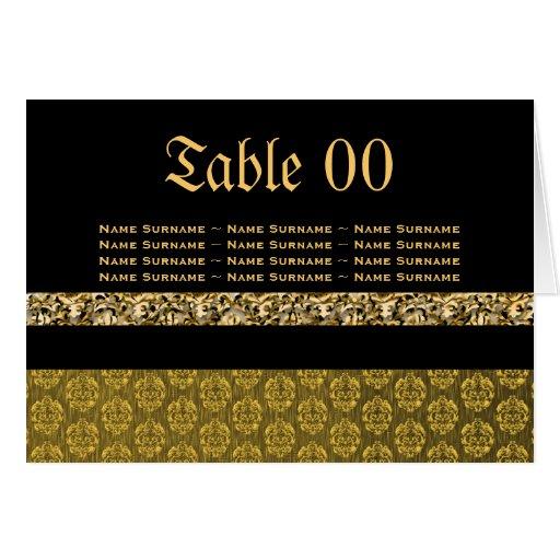 Número elegante de la tabla del damasco tarjeta de felicitación