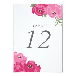 """Número elegante de la tabla del tarro de albañil invitación 5"""" x 7"""""""