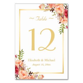 Número elegante floral color de rosa anaranjado de