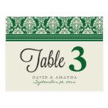 Número elegante Placecards de la tabla de la recep Tarjetas Postales