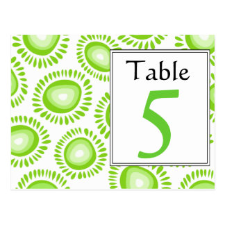 Número enrrollado verde precioso de la tabla de la postales