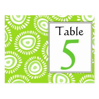 Número enrrollado verde precioso de la tabla de la postal