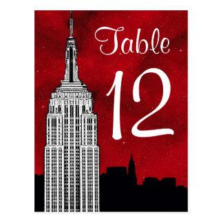 Número estrellado rojo de la tabla de la silueta postales