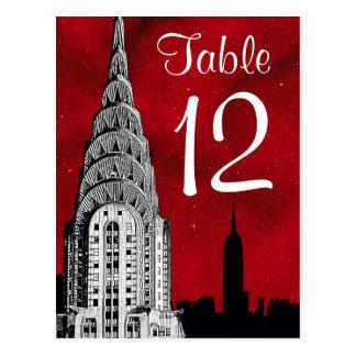 Número estrellado rojo de la tabla de la silueta tarjeta postal
