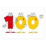 Número feliz 100 postal