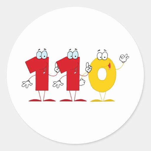 Número feliz 110 pegatina redonda