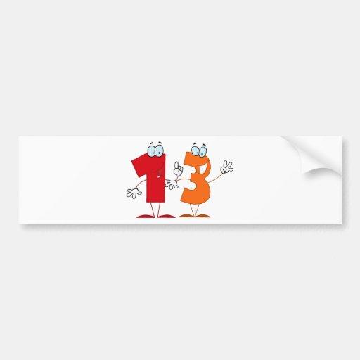 Número feliz 13 pegatina de parachoque