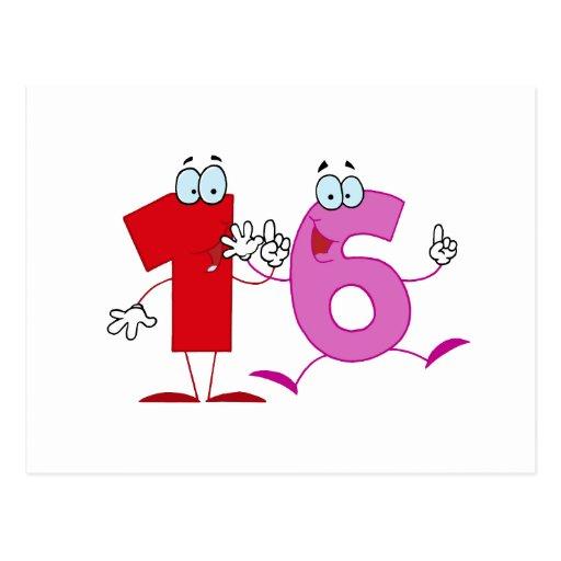 Número feliz 16 postal