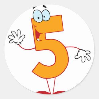 Número feliz 5 pegatina redonda
