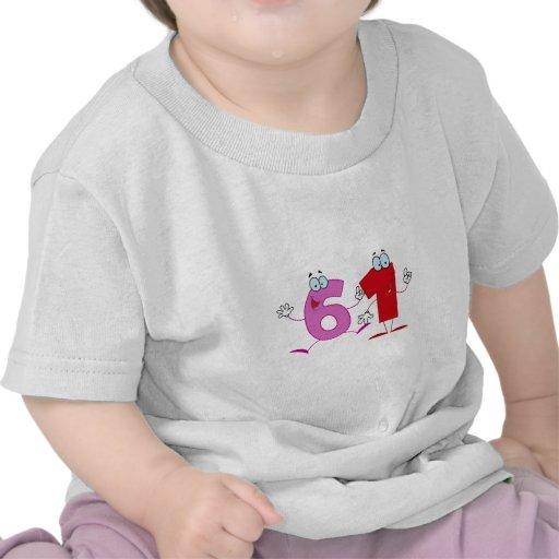 Número feliz 61 camiseta