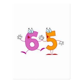 Número feliz 65 tarjetas postales