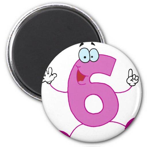 Número feliz 6 imán redondo 5 cm
