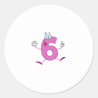 Número feliz 6 etiqueta redonda