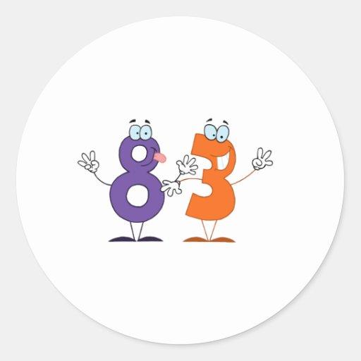 Número feliz 83 pegatina redonda