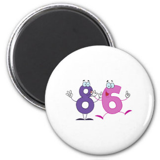 Número feliz 86 imán redondo 5 cm