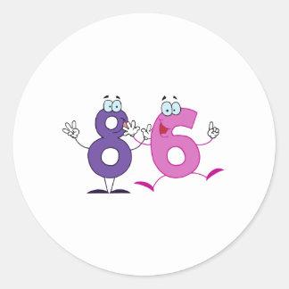 Número feliz 86 pegatina redonda