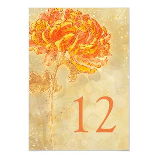"""Número floral anaranjado de la tabla del boda del invitación 3.5"""" x 5"""""""
