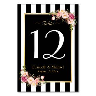 Número floral blanco negro elegante de la tabla