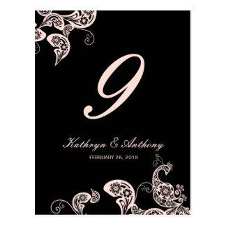 Número floral de la tabla del boda de Paisley del Postal