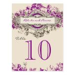 Número floral de la tabla del boda del vintage gri postal