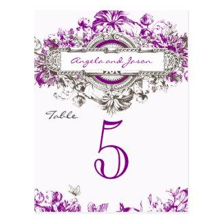 Número floral de la tabla del boda del vintage púr postal