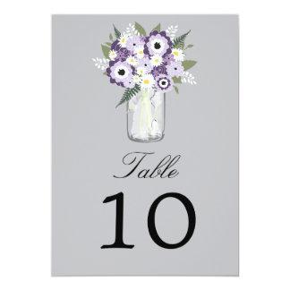 """Número floral de la tabla del tarro de albañil el invitación 5"""" x 7"""""""