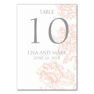 Número floral gris coralino de la tabla del boda d