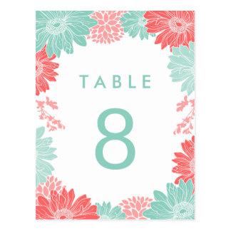 Número floral moderno de la tabla del boda del cor postal