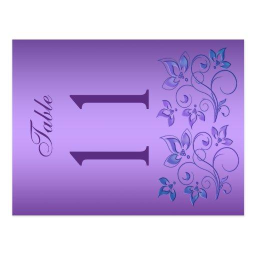 Número floral púrpura y azul reversible de la tarjetas postales
