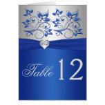 Número floral y de plata del azul real del corazón tarjeton