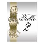 Número formal adornado de plata de la tabla del or tarjetas postales