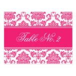 Número fucsia de la tabla del boda del damasco tarjeta postal
