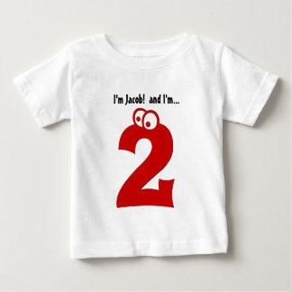 Número grande del 2do cumpleaños del bebé dos años playeras