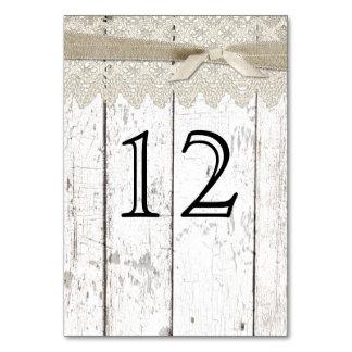 Número lavado blanco rústico de madera y de la tab