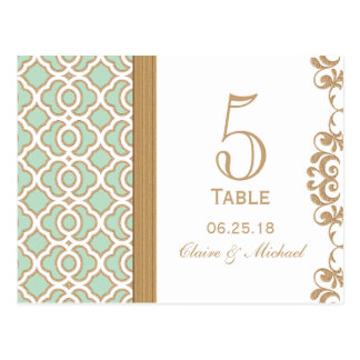 Número marroquí de la tabla del boda de la verde m tarjetas postales