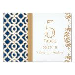 Número marroquí de la tabla del boda de los azules invitación 12,7 x 17,8 cm