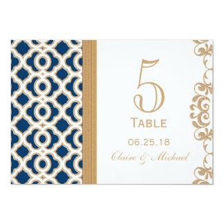 """Número marroquí de la tabla del boda de los azules invitación 5"""" x 7"""""""