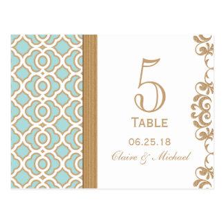 Número marroquí de la tabla del boda del oro azul  postal