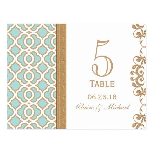 Número marroquí de la tabla del boda del oro azul  tarjetas postales