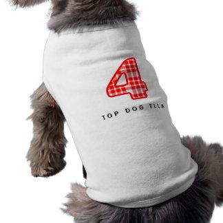 Número modelado tela escocesa roja 4 cuatro A15 Playera Sin Mangas Para Perro