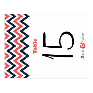 Número moderno de la tabla del boda de Chevron Postales