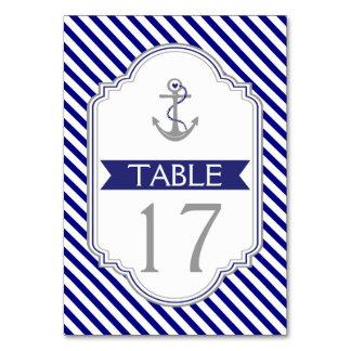 Número náutico de la tabla del boda del ancla azul