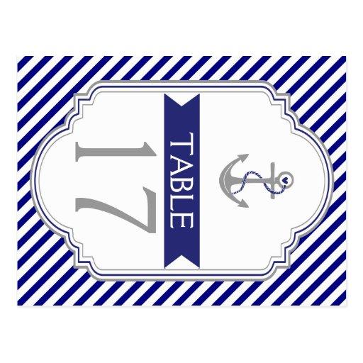 Número náutico de la tabla del boda del ancla azul postales