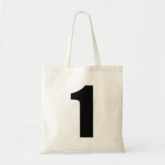 Número negro 1 en el tote del presupuesto bolsa tela barata