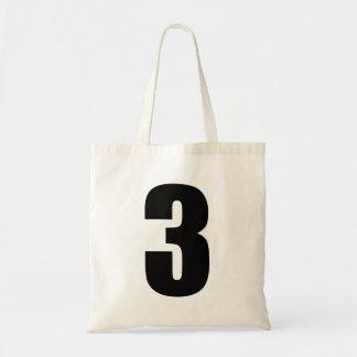 Número negro 3 en el tote del presupuesto bolsa tela barata